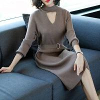 2019秋冬女装毛衣裙时尚修身系带过膝中长款长袖针织衫连衣裙