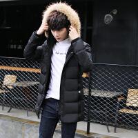 男士中长款棉服韩版时尚棉衣外套修身商务连帽毛领棉袄潮