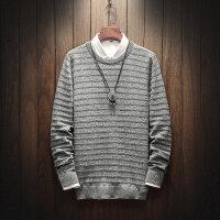 冬季新款圆领厚毛衣男韩版修身黑色毛衣男潮流针织衫打底学生毛衣