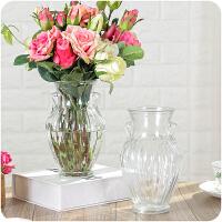 欧式创意透明双耳玻璃花瓶客厅插花摆件装饰品时尚花器