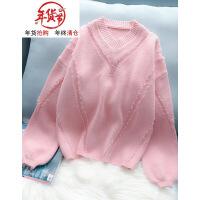 V领套头毛衣女泡泡袖甜美可爱2018秋冬新款韩版白色宽松打底衫 均码(适合80一130斤)