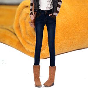 加绒牛仔裤女小脚宽松高腰加厚带绒长裤春秋冬季新款女装裤子潮