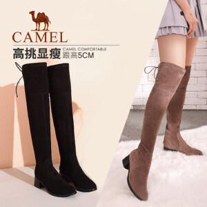 camel/骆驼女鞋2017秋冬季新款百搭长筒粗跟女靴中跟长靴显瘦过膝