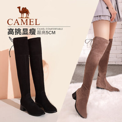 camel/骆驼女鞋秋冬季新款百搭长筒粗跟女靴中跟长靴显瘦过膝