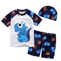 儿童分体恐龙泳衣男童泳裤 男孩可爱卡通宝宝泳装送泳帽中大童分体游泳衣