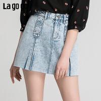 Lgogo/拉谷谷2019年夏季时尚女半裙短裙IABB135A41