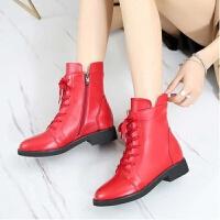 春秋平底短靴平跟圆头英伦马丁靴系带女靴大码全牛皮软底单靴 红色 单靴