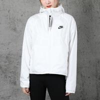 幸运叶子 Nike/耐克女装春季新款运动服休闲上衣宽松舒适透气连帽印花梭织夹克外套BV3940-102