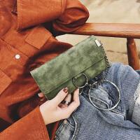 新款女式钱包手拿包圆环锁链长款三折内拉链多大容量PU复古色欧美