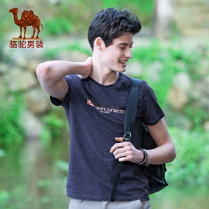 骆驼男装 夏装新品时尚字母印花花纱纯棉圆领休闲短袖T恤衫男