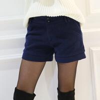 卡茗语秋冬款欧美毛呢子时尚短裤休闲裤直筒宽松打底外穿大码女