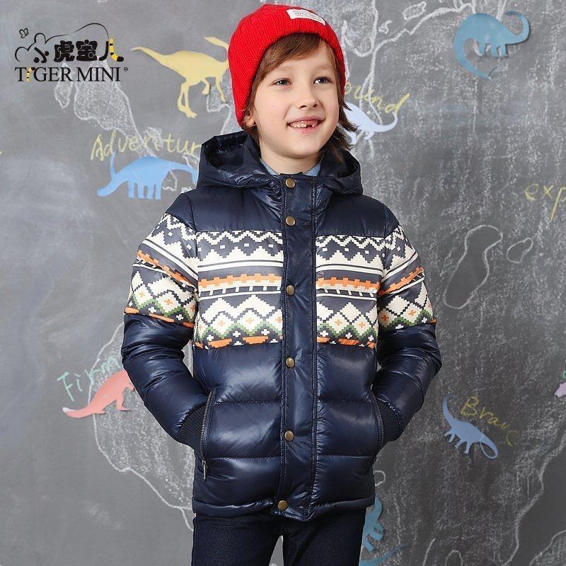 小虎宝儿男童短款羽绒服 儿童开衫羽绒外套男孩中大童加厚冬季新