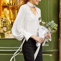 【折后价:169元/再叠300-30元券】Amii极简设计感法式超仙v领雪纺衫女秋季新款灯笼袖长袖衬衫上衣