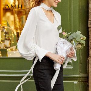 【到手价:168.9元】Amii极简温柔风V领长袖雪纺衫2019春新灯笼袖飘带纯色上衣女