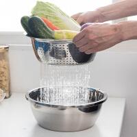 不锈?#33267;?#27700;盆家用厨房淘米洗菜盆水果盘沥水篮水槽圆形漏盆水果篮