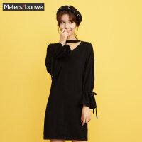 美特斯邦威套头毛衣裙女冬装新款极简风喇叭袖绑带韩版毛衫