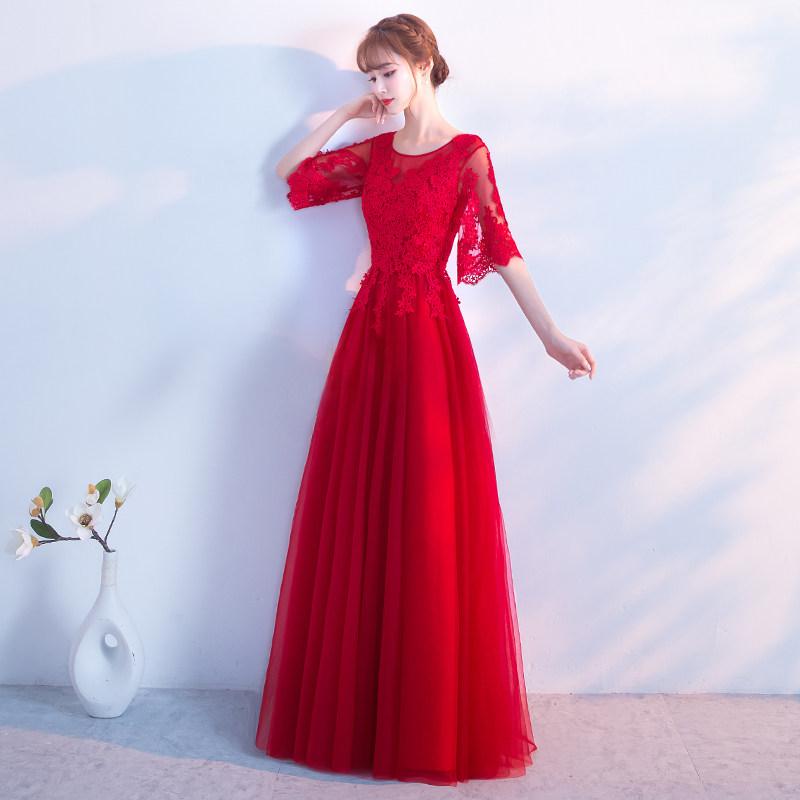 敬酒服新娘秋季2018新款红色优雅短款结婚晚礼服裙女修身显瘦长款 发货周期:一般在付款后2-90天左右发货,具体发货时间请以与客服协商的时间为准