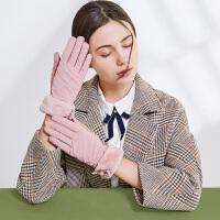 手套女士秋冬季触屏加绒保暖麂皮绒可爱学生手套骑行开车加厚防风