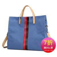 手提包女款手拎包 新款撞色彩条帆布包女包 韩版大容量公文包通勤女包潮流布女包文件包 女