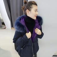 №【2019新款】冬天美女穿的女2018新款欧货宽松韩版大毛领连帽黑色羽绒服短款外套