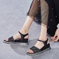 罗马凉鞋女2019新款韩版百搭厚底增高坡跟仙女风高跟露趾夏季鞋子夏季百搭鞋
