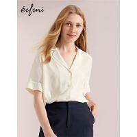 伊芙丽夏季新款韩版衬衣宽松睡衣风小上衣短袖气质真丝衬衫女