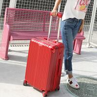 拉杆箱万向轮行李箱学生密码旅行箱男女拖箱20/24/26寸韩版皮箱子 红色 收藏下单送箱套