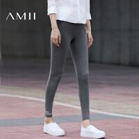 【1件8折/2件6折】【预售】Amii2017秋季新款通勤百搭橡筋腰修身纯色印花打底裤女