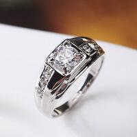 霸气韩版潮人 一克拉男士戒指 结婚戒个性戒指环饰品