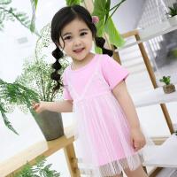 女童连衣裙夏装2018新款公主儿童短袖吊带蕾丝裙子宝宝甜美公主裙
