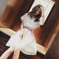 谜秀2017夏装新款蕾丝连衣裙女夏韩版甜美纯色短袖假两件套装裙潮