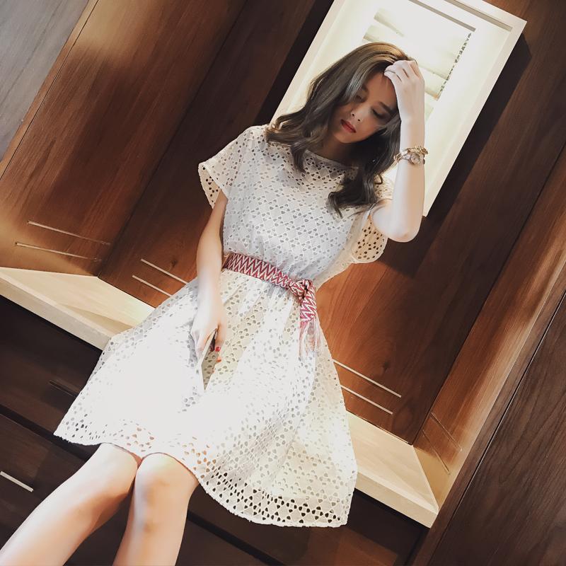谜秀2017夏装新款蕾丝连衣裙女夏韩版甜美纯色短袖假两件套装裙潮蕾丝甜美连衣裙