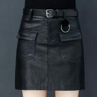 皮裙女2018新款口袋裙子女高腰黑色a字裙ins超火的半身裙冬天短裙