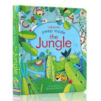 英文原版绘本 peep inside the Jungle 偷偷看里面系列 丛林 森林 洞洞书 usborne 纸板科
