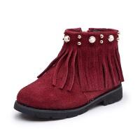 2017冬季新款女童流苏马丁靴珍珠公主靴子韩版加绒中筒靴保暖短靴