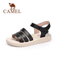 【每满200减100】camel骆驼女鞋 春夏新款 休闲简约女凉鞋露趾真皮魔术贴凉鞋