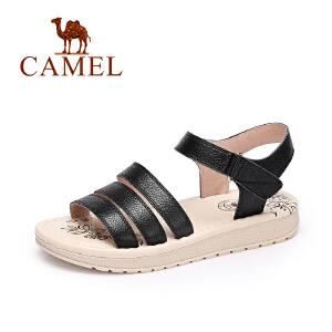 camel骆驼女鞋 春夏新款 休闲简约女凉鞋露趾真皮魔术贴凉鞋