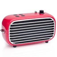 洛斐 毒奏蓝牙音箱迷你低音炮 便携户外复古收音机 手机无线家用小音响 红色