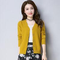 华短款衫开衫女显瘦V领针织外套薄款2019秋季女装羊绒衫 黄色 8675