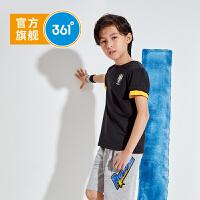 361度童装 2021夏季男童休闲短袖针织衫 新款儿童运动圆领T恤夏装
