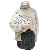 大码女装胖妹妹胖MM高领慵懒针织毛衣毛呢格子半身裙洋气减龄套装 +