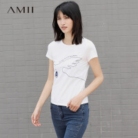Amii[极简主义]夏亲子圆领短袖手绘印花修身弹力T恤11742430