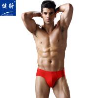 健将男士内裤弹力棉全红大红色本命年三角裤2条装