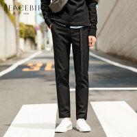 太平鸟男装新品裤子男士黑色直筒休闲裤商务裤韩版修身裤子潮