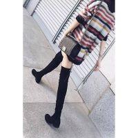 过膝靴女2018秋新款长筒靴绒面平底粗跟靴子高筒靴保暖长靴子