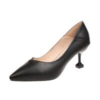 黑色高跟女鞋职业细跟尖头夏款百搭正装工作鞋2019夏季新款单鞋