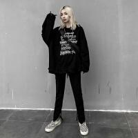 牛仔裤女秋冬季韩版潮流修身百搭黑色拉链港风潮流嘻哈BF风 黑色