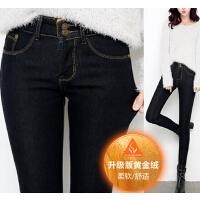 高腰时尚弹力修身小脚铅笔裤  新款加厚黑色加绒 牛仔裤女长裤