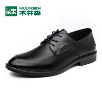 木林森男鞋 新款商务正装休闲皮鞋 舒适系带牛皮男士鞋子05177357