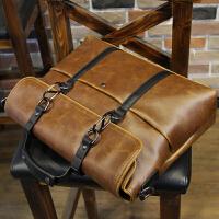 商务公文包男包男士手提包电脑包斜挎背包休闲办公单肩包公文包 咖啡色